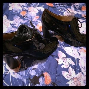 Patent Leather High Heel Oxfords